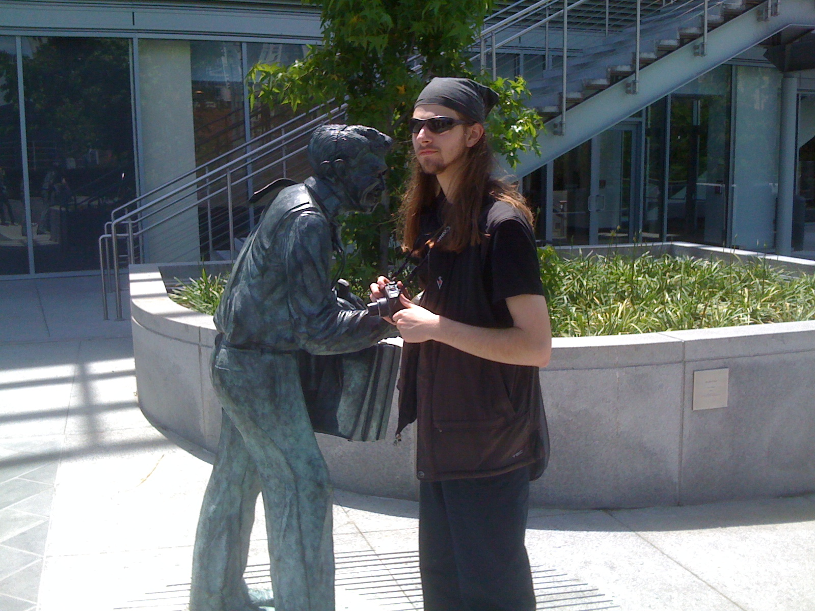 Jon with statue