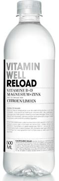 Vitamin Well vitaminewater Lemon & Lime, flesje van 0,5 L, pak van 12
