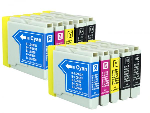 LC1000/LC970 compatibel inktpatronen Voordeelpack - 10 stuks XL