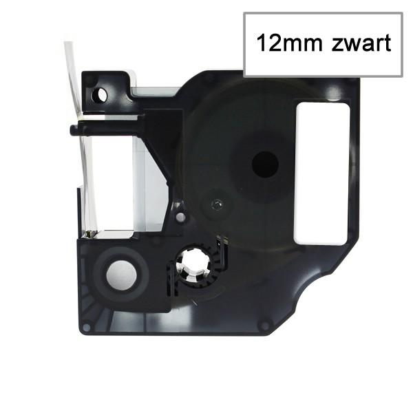 Compatible Labeltape 45013 - 12mmx7m - Zwart Op Wit