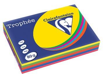 Clairefontaine Trophée intens A4, 80 g, 5 x 100 vel, geassorteerde kleuren
