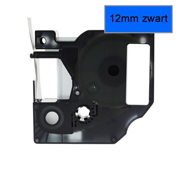 Compatible Labeltape 45016 - 12mmx7m - Zwart Op Blauw