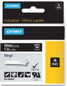 Dymo RHINO vinyltape ft 24 mm, wit op zwart