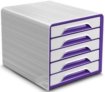 Smoove by CEP ladenblok met 5 laden, wit kader met paarse laden