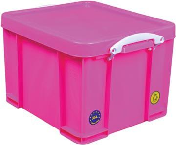 Really Useful Box opbergdoos 35 liter, neon roze met witte handvaten