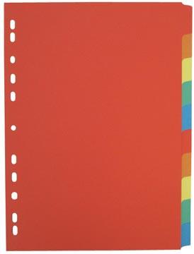 Class'ex tabbladen 10 tabs, 11-gaats perforatie, karton, geassorteerde felle kleuren