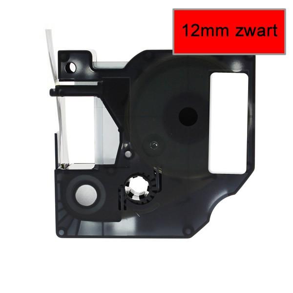 Compatible Labeltape 45017 - 12mmx7m - Zwart Op Rood