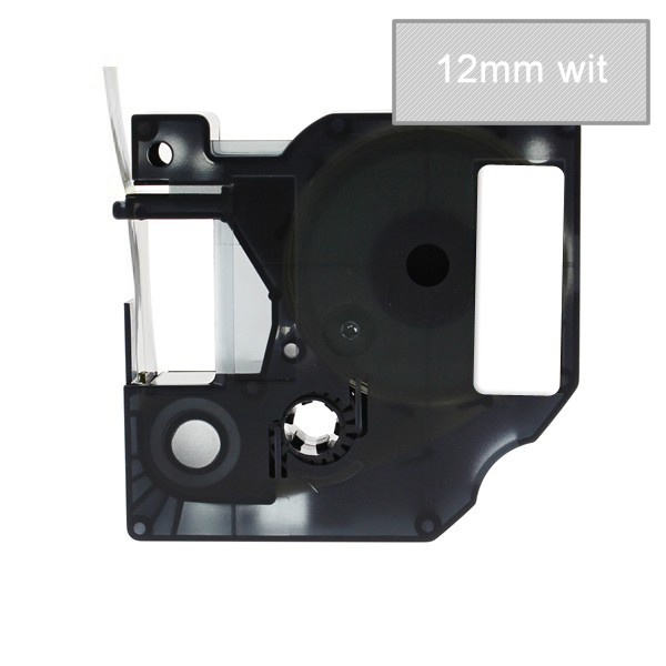 Compatible Labeltape 45020 - 12mmx7m - Wit Op Transparant