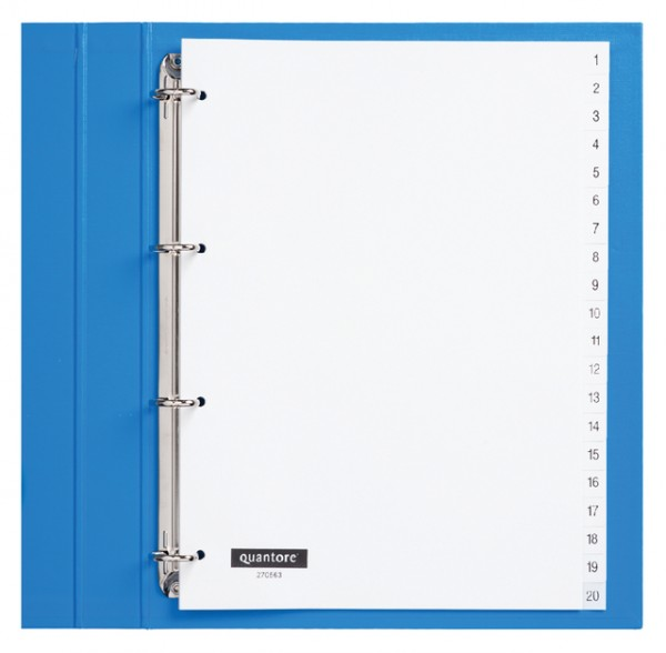 Tabbladen Quantore 4-gaats 1-20 genummerd wit