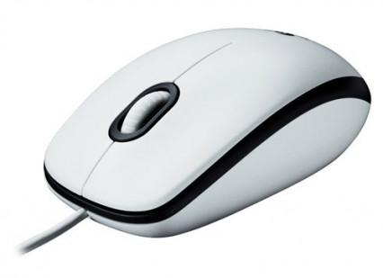 Une souris Logitech filaire ambidextre