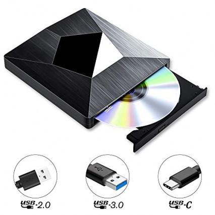 Le lecteur graveur de CD/DVD externe PiAEK au look futuriste