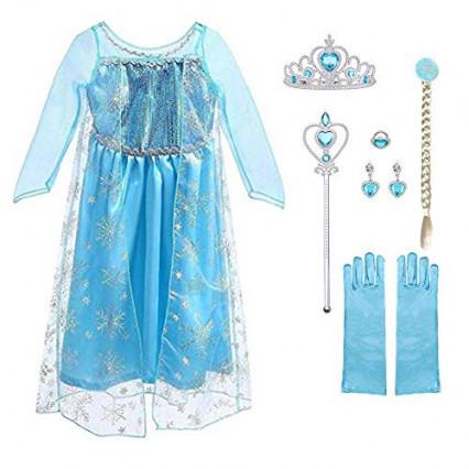 Le déguisement d'Elsa avec une robe de La Reine des Neiges
