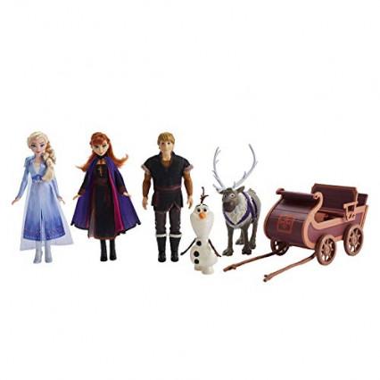 Les figurines des cinq personnages emblématiques de La Reine des Neiges 2