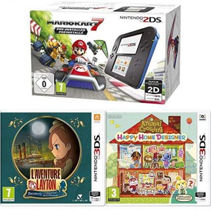Un pack Nintendo 2DS avec Mario Kart 7, L'Aventure Layton et Animal Crossing