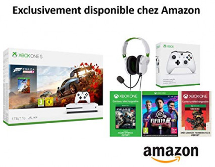 Pack console Xbox One S + 4 jeux + casque Turtle Beach + manette