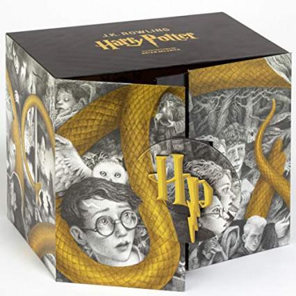 L'intégrale des livres Harry Potter avec 1 frise de l'artiste et les quatre blasons des maisons