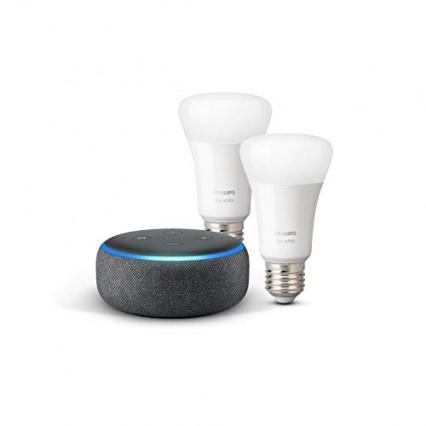 Le lot Echo Dot 3ème génération + deux ampoules Philips Hue