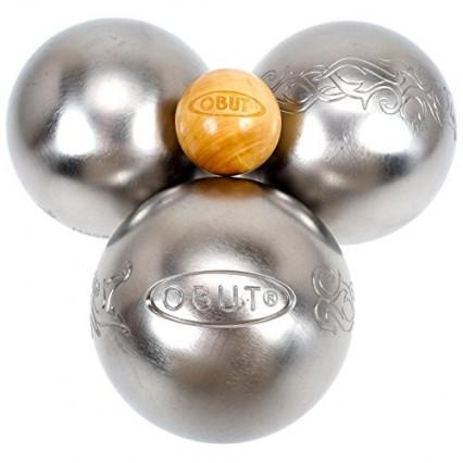 Un set de trois boules et d'un cochonnet Obut