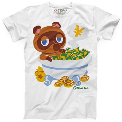 Un t-shirt de Tom Nook prenant un bain de clochettes