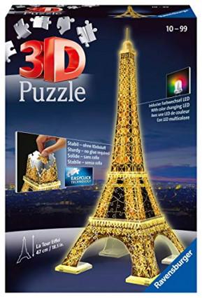 Un puzzle 3D de la Tour Eiffel illuminée