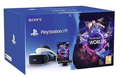 Un casque de réalité virtuelle PlayStation VR avec la PS caméra et VR Worlds