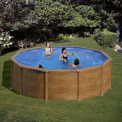 La piscine ronde en acier imitation bois par Gre, la Sicilia ronde
