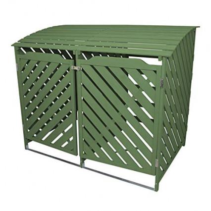 Le cache-poubelle vert en bois