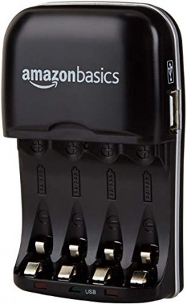 Le chargeur de piles avec port USB AmazonBasics