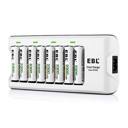 Le chargeur 8 slots EBL 808 A et ses piles