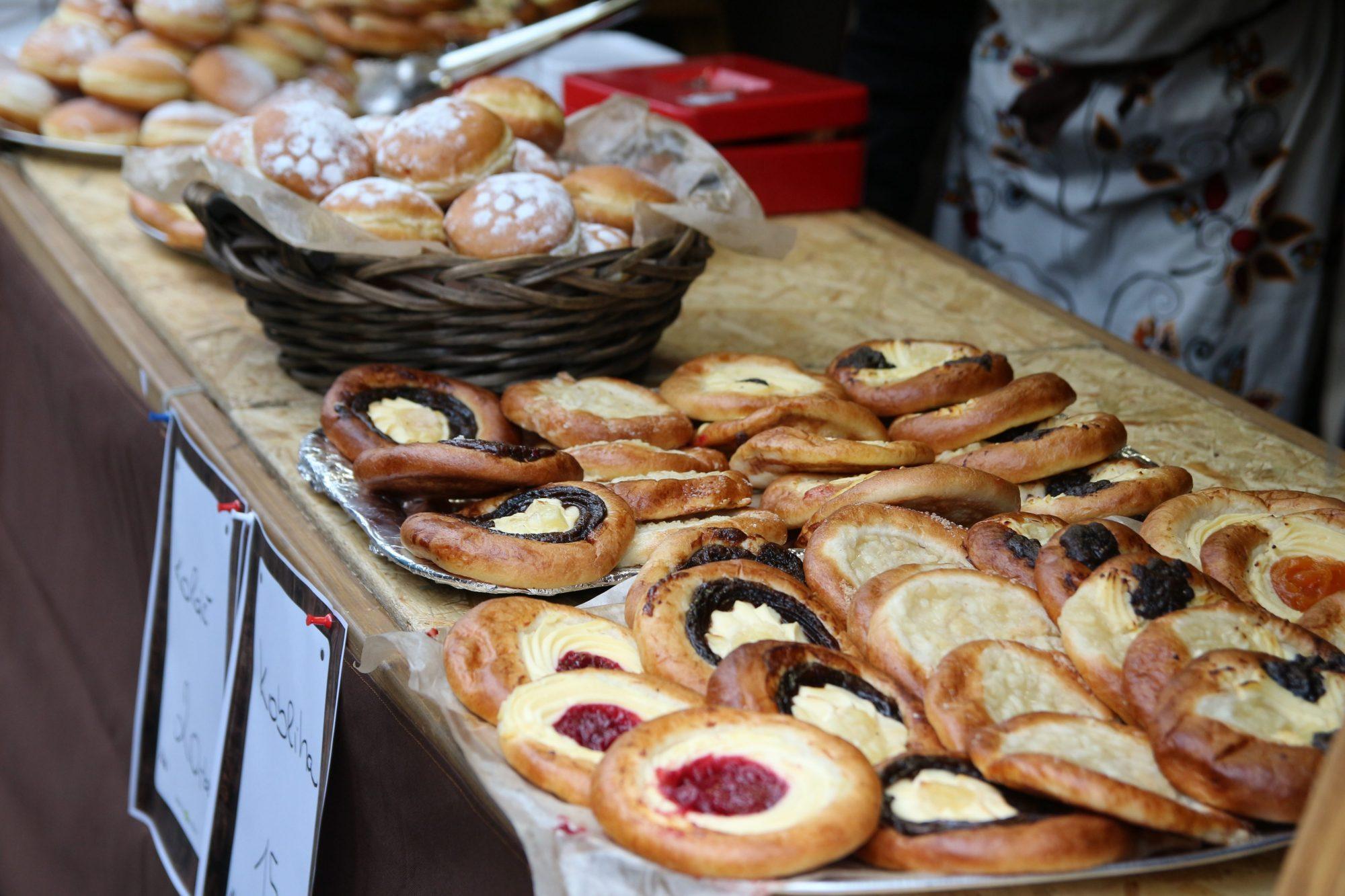 Czech food, sweet desert, kolache