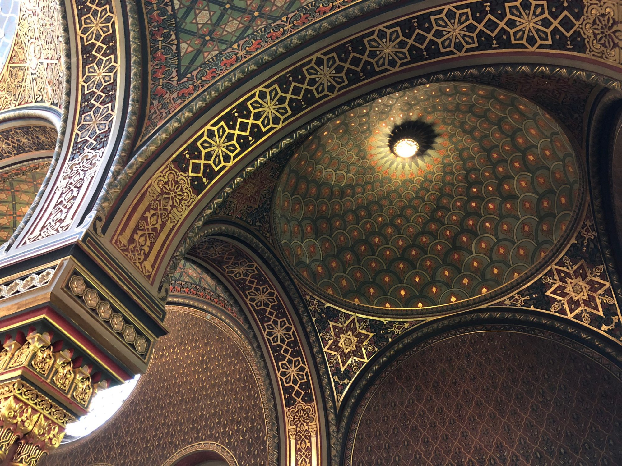 Inside view of Spanish Synagogue in Jewish Quarter of Prague, Josefov