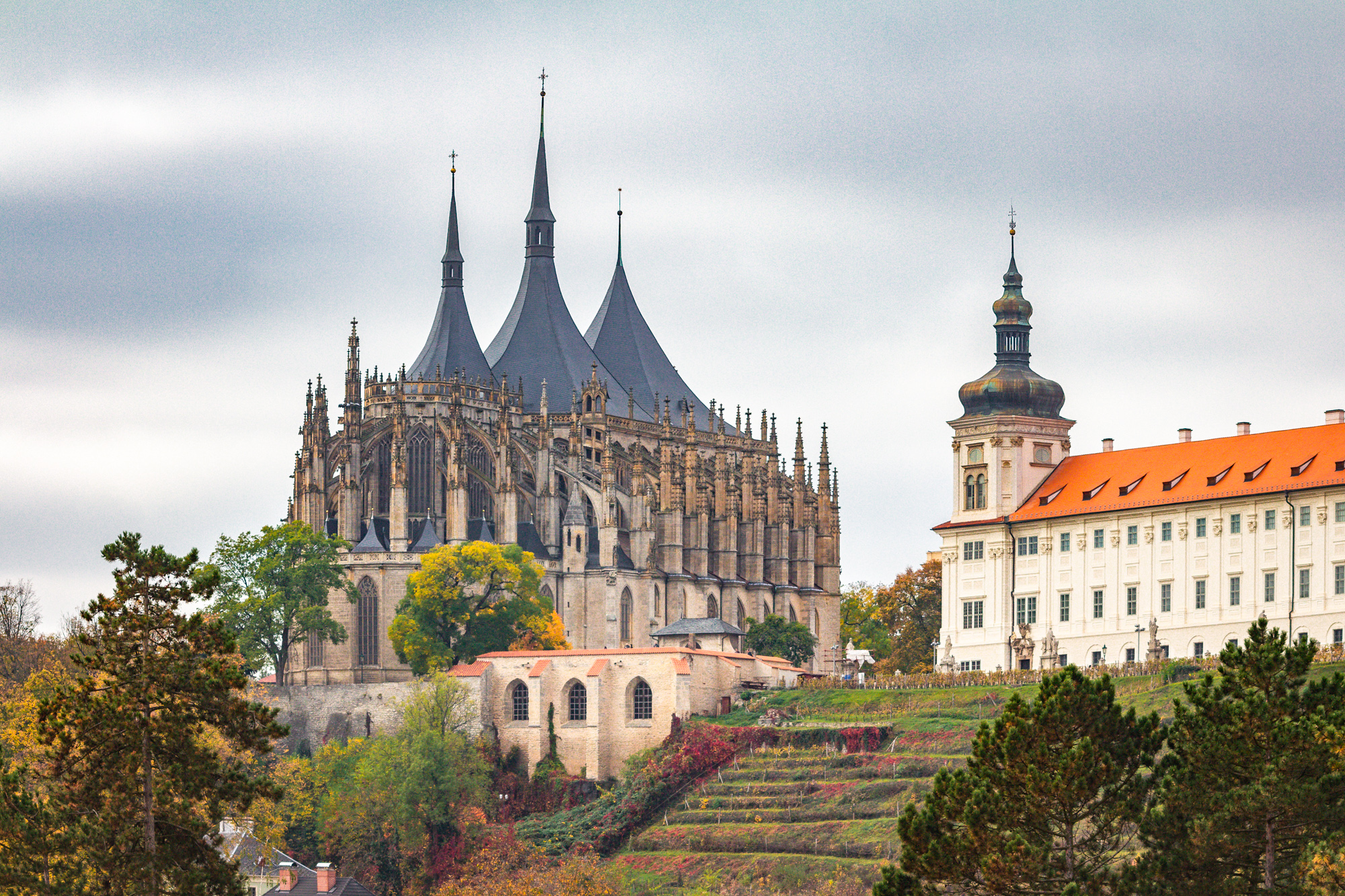 Kutna Hora, view of the St. Barbara Church and Jesuit College
