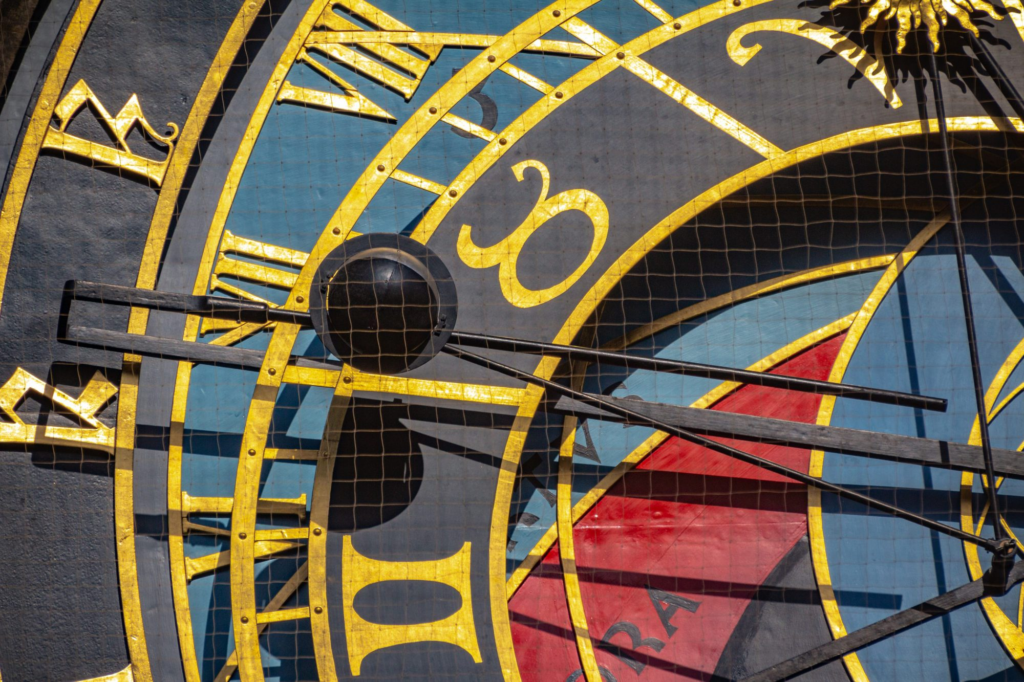 Photo of the Astronomical Clock with a detail of the Moonball