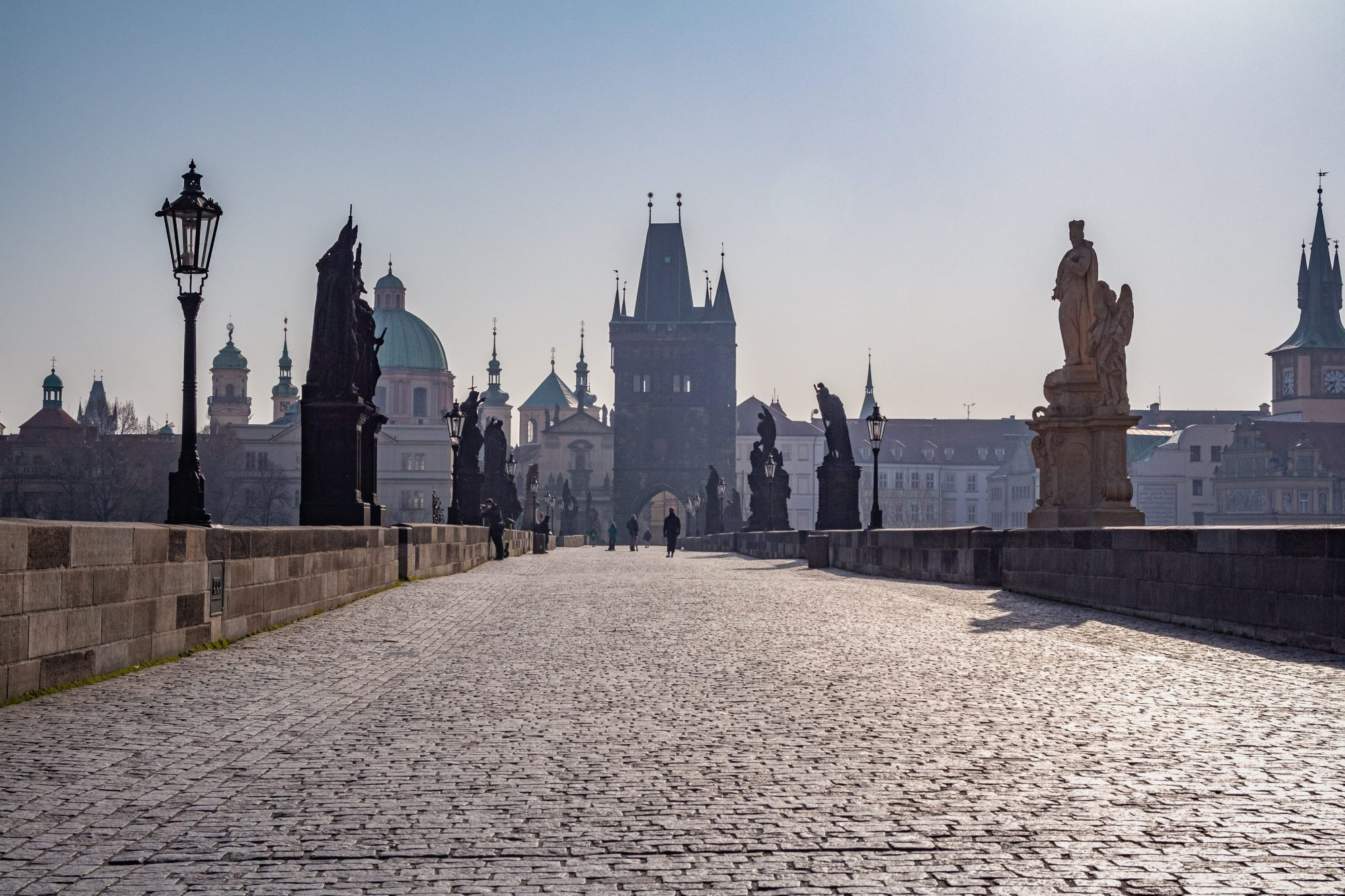Charles Bridge during the day without toursits