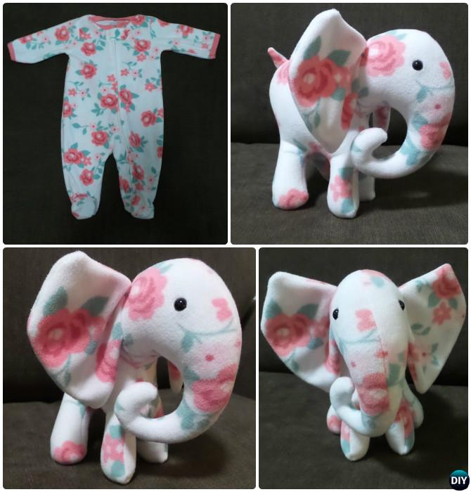 DIY Baby Onesie Memory Elephant Keepsake Tutorial Free Pattern DIYHowto - An Adorable DIY Solution To Your Kids' Outgrown Clothes!