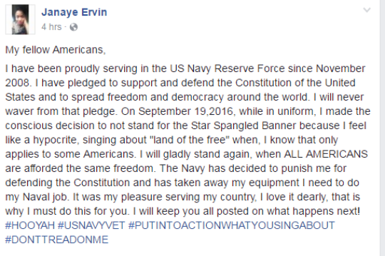 janaye evrin protest.png 157646523 - Navy Officer Just Found Out What Happens When You Refuse To Stand For The National Anthem
