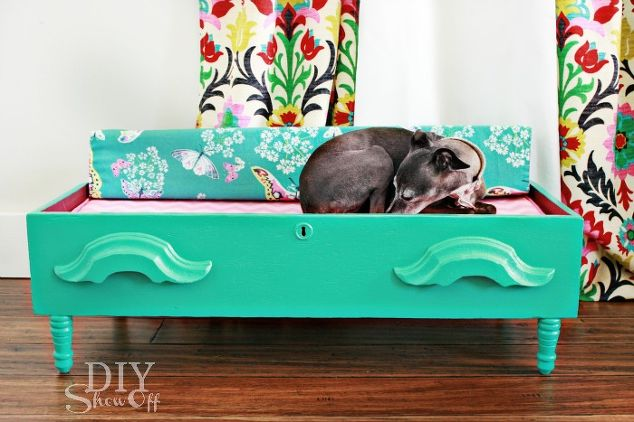 spoiling the dog diy dog bed repurposed dresser drawer painted furniture repurposing upcycling.1 - Instead Of Tossing Old Dresser Drawers, She Did This. I Can't Believe I Never Thought To Do THIS…