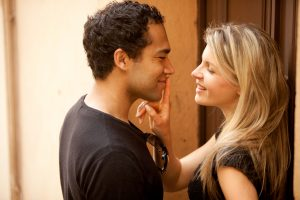 Couple Flirt Kiss