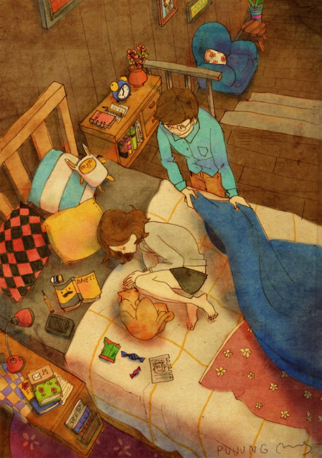 23155 sweet couple love illustrations art puuung 30  700 650 a542d8629a 1484149902 - 소소한 일상 속에서 발견하는 '사랑'에 관한 일러스트 작품 (사진 23장)