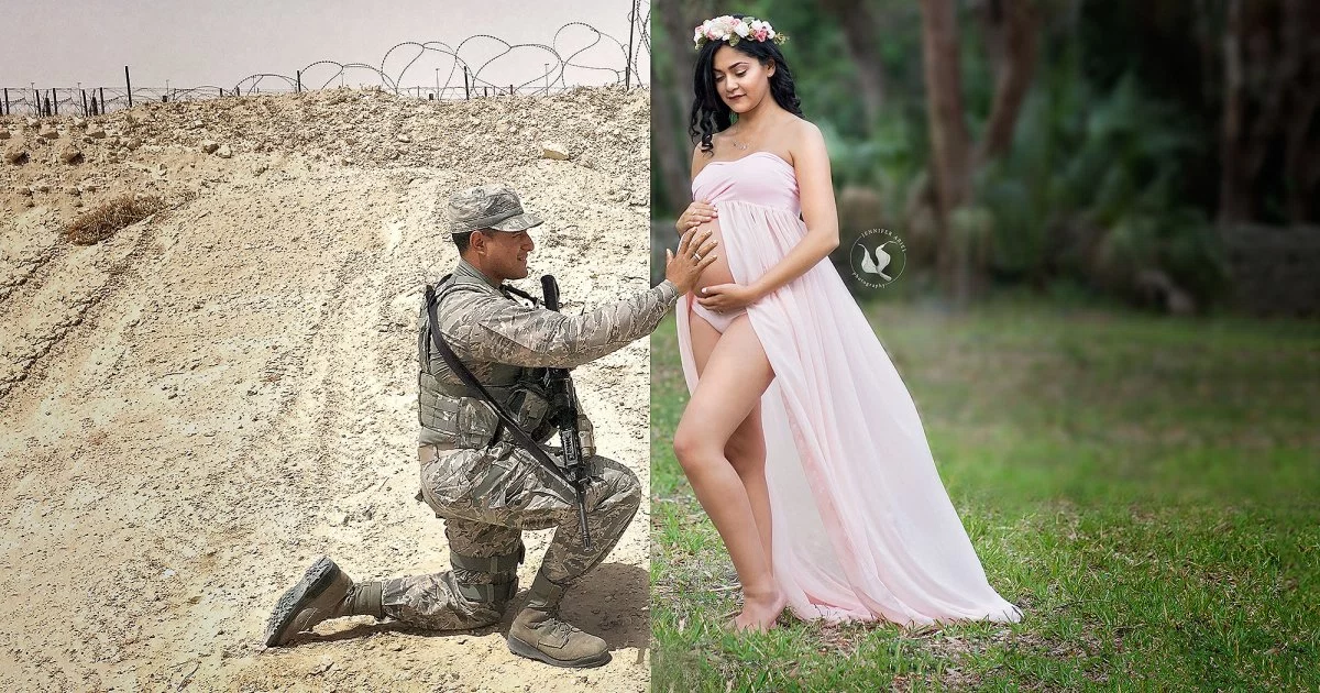 img 599a702291140 - While Her Husband Is Deployed Overseas, Look How She Replaced Him In The Maternity Photo