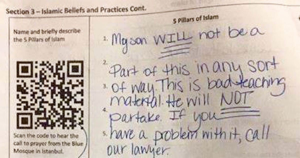 islam in schools 1024x538 300x158 - Mom Looks At Son's Homework, She Immediately Writes Note To The Teacher 'In Disgust'