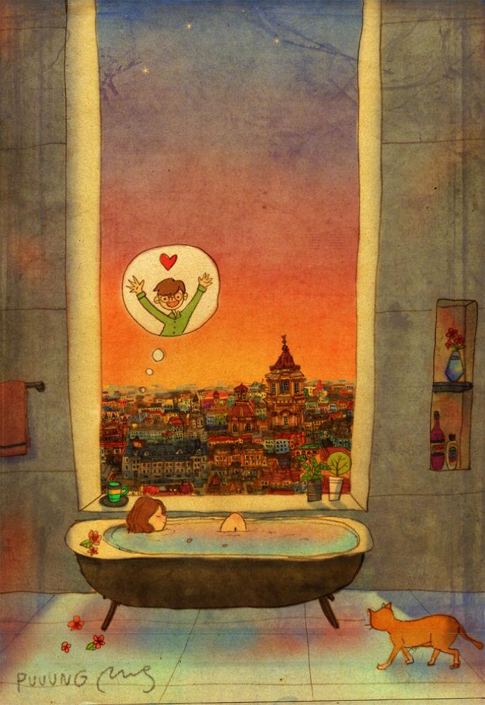 sweet couple love illustrations art puuung 25  700 - 소소한 일상 속에서 발견하는 '사랑'에 관한 일러스트 작품 (사진 23장)