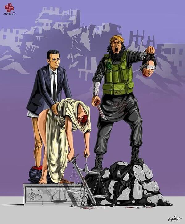 ad femidead satirical illustrations by gunduz agayev 07 - 세계 지도자들이 '정의'를 어떻게 다루는지 나타낸 일러스트 14장