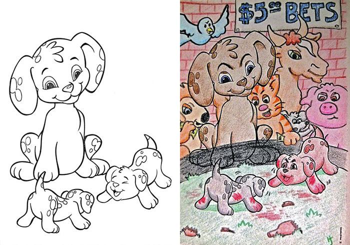 adults coloring childrens books1 4 599198beb905a  700 - 동심파괴 주의! 어린이용 '컬러링북'을 어른이 하면 벌어지는 일 (사진 16장)