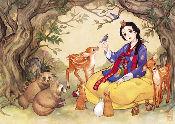 asian korean disney remake illustration na young wu 1 - 해외에서 더 유명한 '한복을 입은 디즈니 공주들' 일러스트(사진 10장)