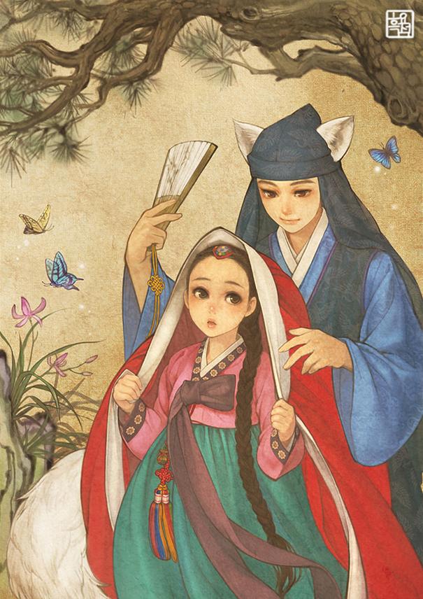 asian korean disney remake illustration na young wu 4 - 해외에서 더 유명한 '한복을 입은 디즈니 공주들' 일러스트(사진 10장)