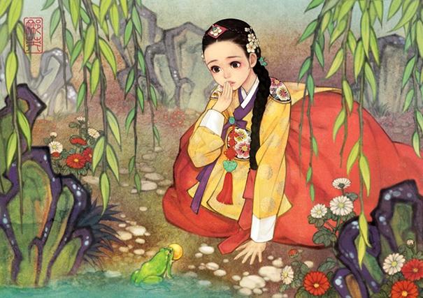 asian korean disney remake illustration na young wu 5 - 해외에서 더 유명한 '한복을 입은 디즈니 공주들' 일러스트(사진 10장)