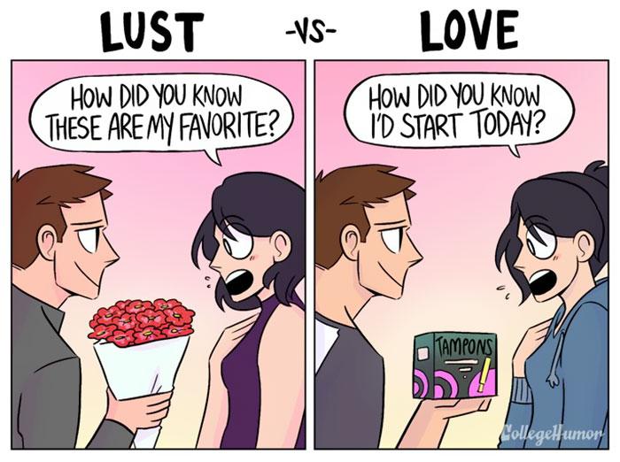 "lust vs love comics shea strauss karina farek 3 57cfafdc1b283  700 - ""성욕 혹은 사랑"" 연인과의 관계 보여주는 두컷 만화 6편"