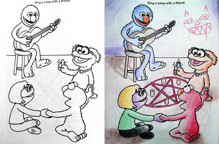 this is what happens when adults color drawings for children 59915c1982eef  700 - 동심파괴 주의! 어린이용 '컬러링북'을 어른이 하면 벌어지는 일 (사진 16장)