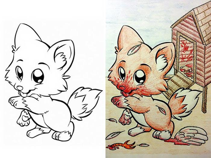 this is what happens when adults color drawings for children 59915c2525220  700 - 동심파괴 주의! 어린이용 '컬러링북'을 어른이 하면 벌어지는 일 (사진 16장)